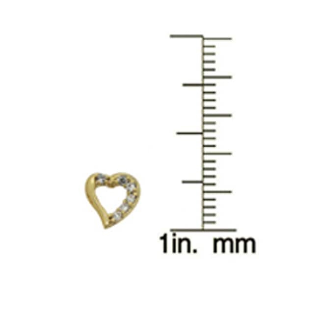 Gioelli Gold over Silver Children's Cubic Zirconia Heart Earrings