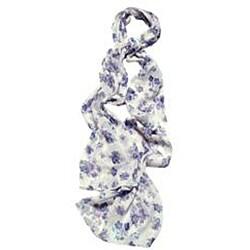 Purple Floral Print Fashion Scarf - Thumbnail 2