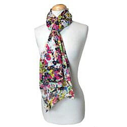 Thumbnail 3, White Floral Print Scarf. Changes active main hero.