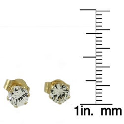 Beverly Hills Charm 14k Yellow Gold White Sapphire 3-6 mm Stud Earrings - Thumbnail 2