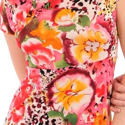 247 Frenzy Junior's Coral Flowers Mini Dress - Thumbnail 2