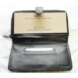 Women's Black Genuine Leather Wrap Around Zip Checkbook Wallet
