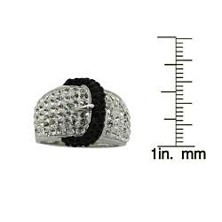 Gioelli Silver Rhodium Plated Crystal Black Buckle Ring - Thumbnail 2
