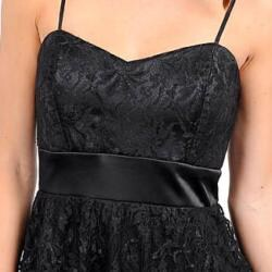 247 Frenzy Juniors Black Spaghetti Strap Lace Dress - Thumbnail 2