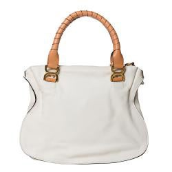 Chloe 'Marcie' Small White Leather Tote Bag