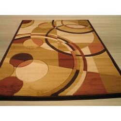 Hand Carved Brown Cubist Rug (7'10 x 9'10) - Thumbnail 2