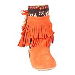 Refresh by Beston Women's 'Mini-03' Orange Fringe Boots