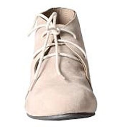 Refresh by Beston Women's 'Heidi' Taupe Lace-up Booties