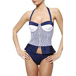1 Sol Swimwear Women's 2-piece Seersucker Tankini