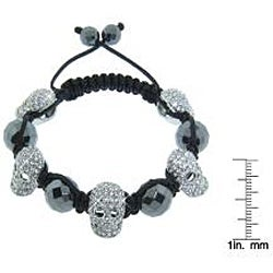 Eternally Haute Hematite Gemstone and Crystal Skull Macrame Bracelet - Thumbnail 2