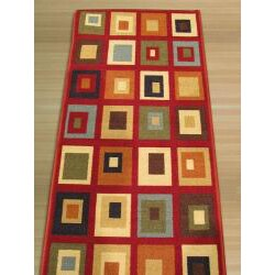 Euro Home Red/ Beige Rug (1'8 x 4'11) - Thumbnail 2