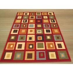 Euro Home Red/ Beige Rug (3'3 x 5') - Thumbnail 2