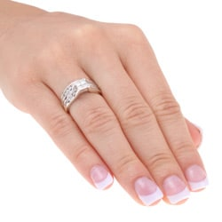 Sterling Silver 1ct TDW Diamond Bridal Ring Set (K-L I1-I2) - Thumbnail 2