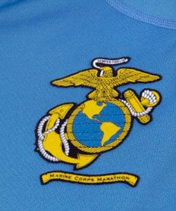 Brooks Vapor-dry Women's Azure Half-zip Hoodie w/Marine Corp Marathon Logo