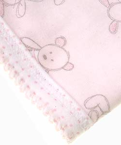 Absorba Pink Bear and Bunny Newborn Blanket - Thumbnail 2