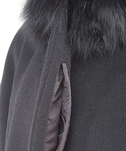 Albert Nipon Black Wool Walking Coat w/Fox Collar - Thumbnail 2