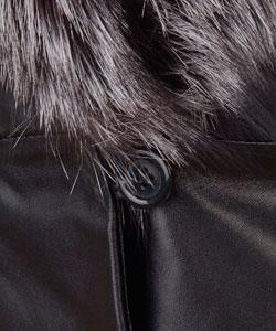 Marvin Richards Black Fur Trim Leather Coat