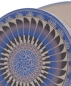Midnight Blue Etched Pottery Jewelry Box (Native American) - Thumbnail 2