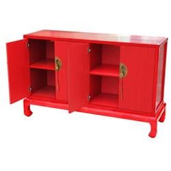 Antique Red 4-door Cabinet - Thumbnail 2