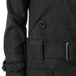Coffee Shop Women's Charcoal Belted Wool Jacket