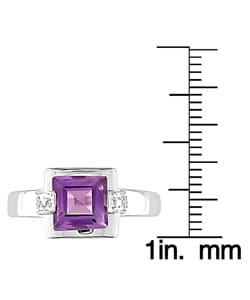 14k White Gold Diamond Amethyst Ring