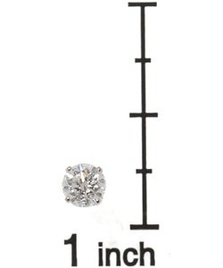 14k White Gold 3/4ct TDW Round Diamond Stud Earrings - Thumbnail 2