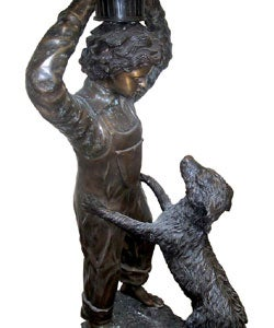 Large Boy and Dog Bronze Sculpture (approx. 5 ft. tall) - Thumbnail 2