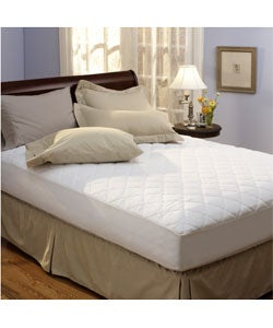 Classic 100-percent Hypoallergenic Polyester Cotton Top Mattress Pad - White