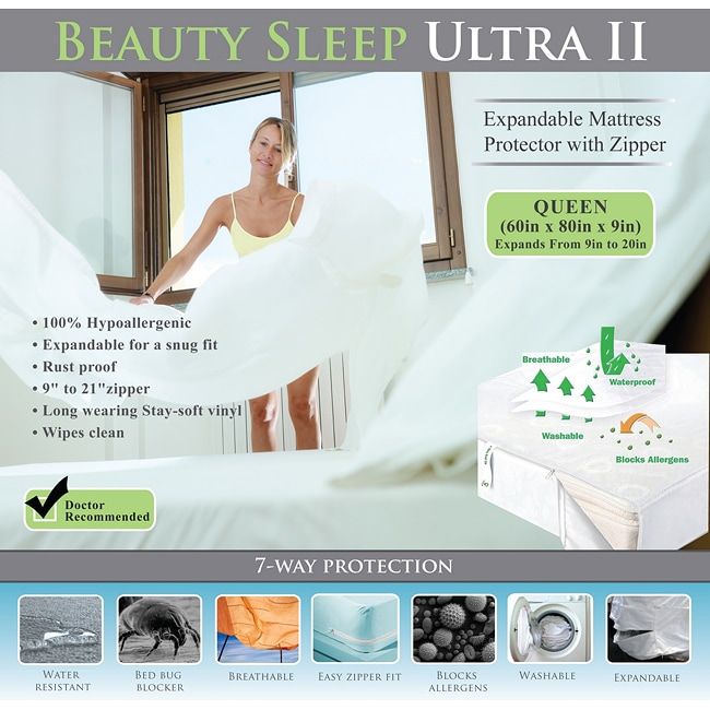 Bed Bug Waterproof Expandable to 20-inches Queen-size Mattress Cover