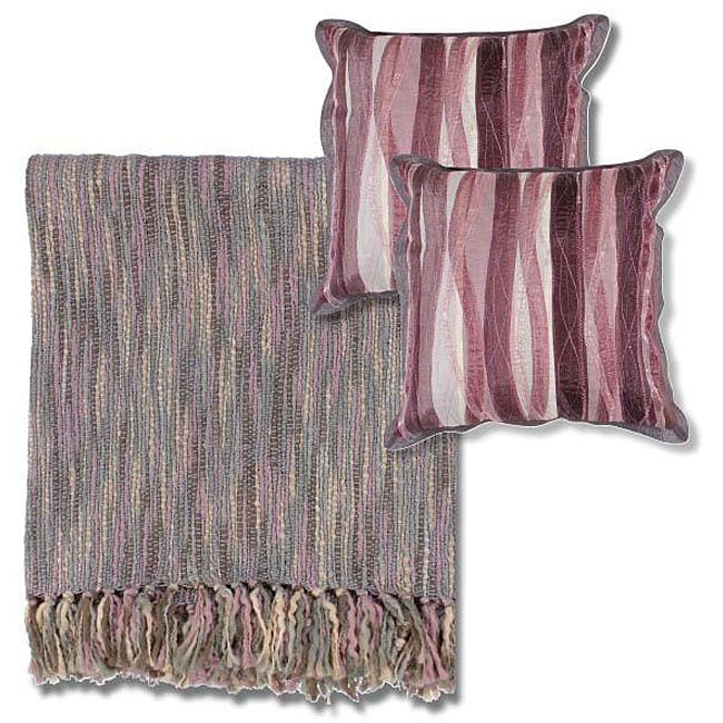 Throw Blanket And Decorative Pillow Set : Mauve/ Grey Throw Blanket and Decorative Pillows - Free Shipping Today - Overstock.com - 12401556