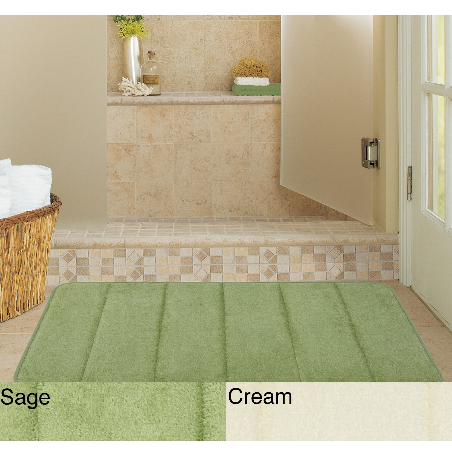 Microfiber Memory Foam 17 x 24 Bath Mat (Set of 2)