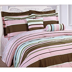 Microfiber Pink Stripe 3-piece Duvet Cover Set - Thumbnail 0