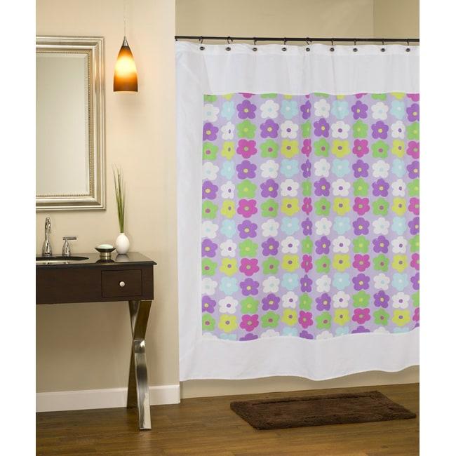Mitered Happy Days Flower Cotton Shower Curtain