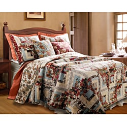 Greenland Home Fashions Montrose 3-piece Quilt Set - Blue - Thumbnail 0
