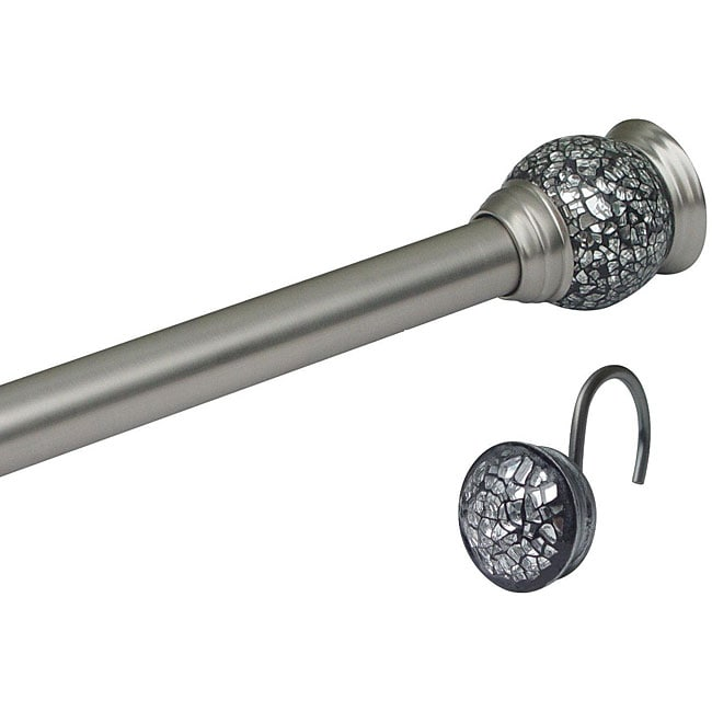 Mosaic Satin Nickel Rod and Hook Set by Elegant Home Fashions