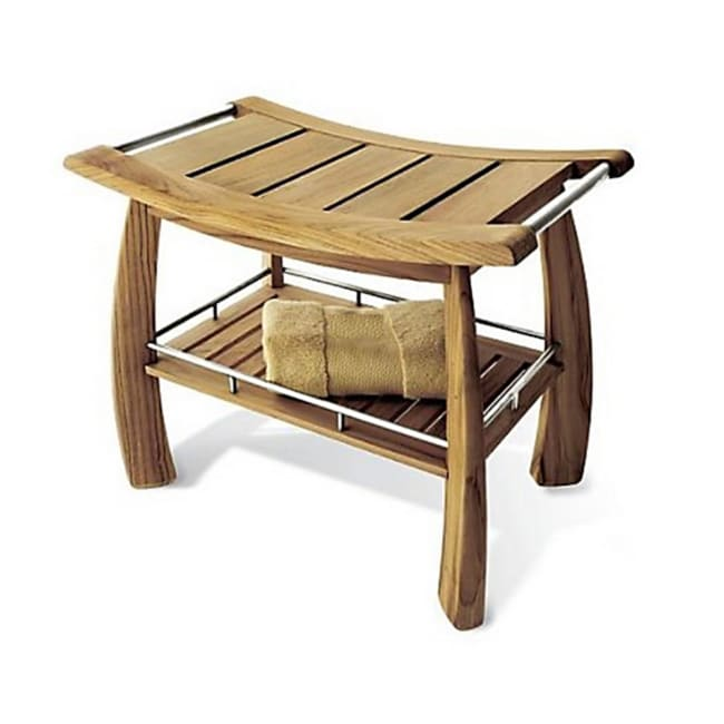 Shop Teak Shower Bench With Shelf   Free Shipping Today   Overstock    7233871