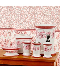 Vintage Rose Pink Bathroom Accessories Set With Shower Curtain Overstock Com Shopping The Best Deals On Shower Curtains
