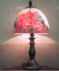 Reverse Painted Rose Table Lamp Overstock 996497