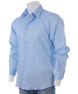 Shop Red O Men S Light Blue Button Up Linen Shirt Free