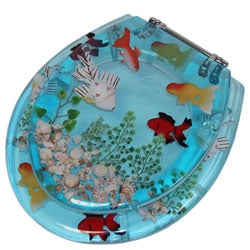 Shop Transparent Blue Goldfish Toilet Seat Free Shipping