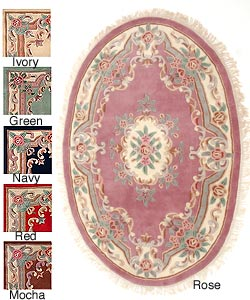 Shop Aubusson Chinese Wool Rug 4 9 X 7 6 Oval Free