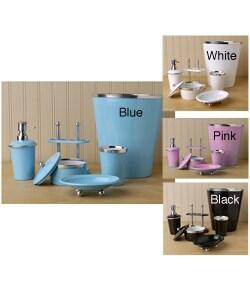 Rainbow bathroom accessory set black white pink or blue for Pink and blue bathroom accessories