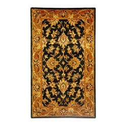 Safavieh Handmade Heritage Traditional Kashan Black/ Beige Wool Rug (3' x 5')