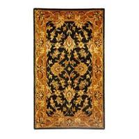 Safavieh Handmade Heritage Traditional Kashan Black/ Beige Wool Rug - 3' x 5'