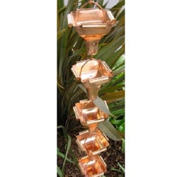 Large Curled Cup Copper Rain Chain