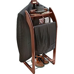 Mahogany Finish Clothes Valet Stand