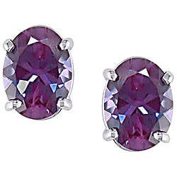 14k White Gold Created Alexandrite Stud Earrings Ping The Best Deals On Gemstone