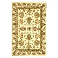 Safavieh Handmade Traditions Tabriz Ivory Wool and Silk Rug - 4' x 6'