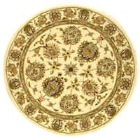 Safavieh Handmade Traditions Tabriz Ivory Wool and Silk Rug (6' Round) - 6' Round