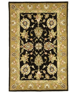 Safavieh Handmade Tabriz Black/ Gold Wool and Silk Rug (5' x 8')